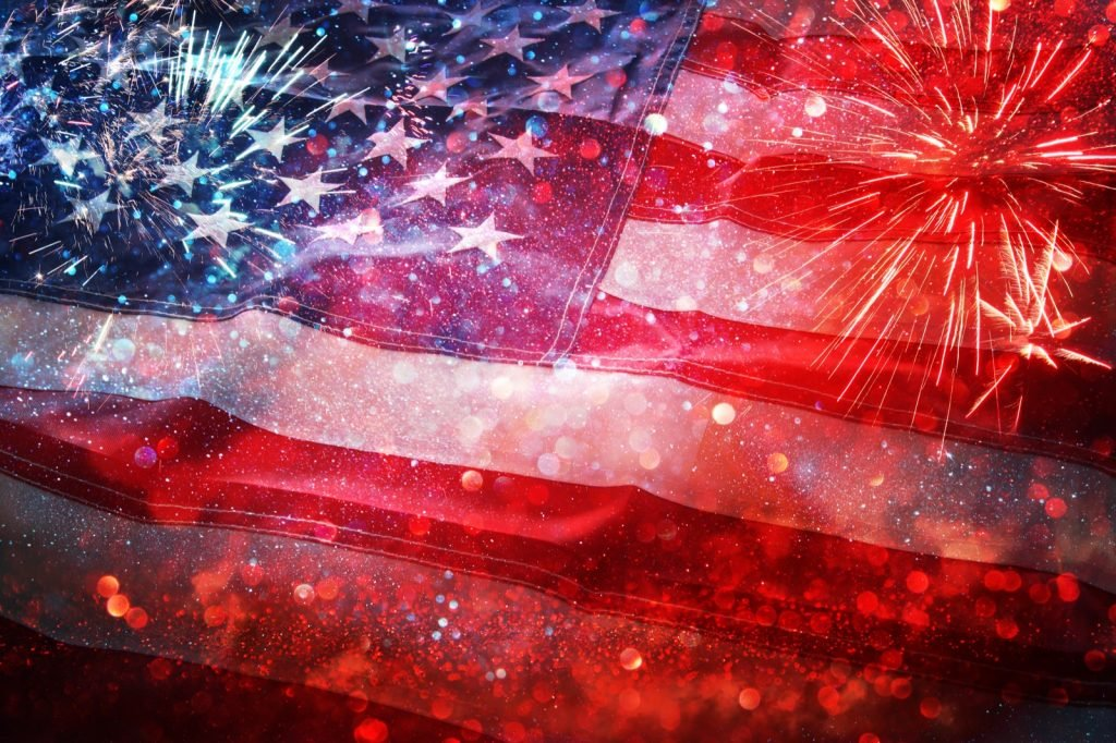Patriotic celebration day with the American flag