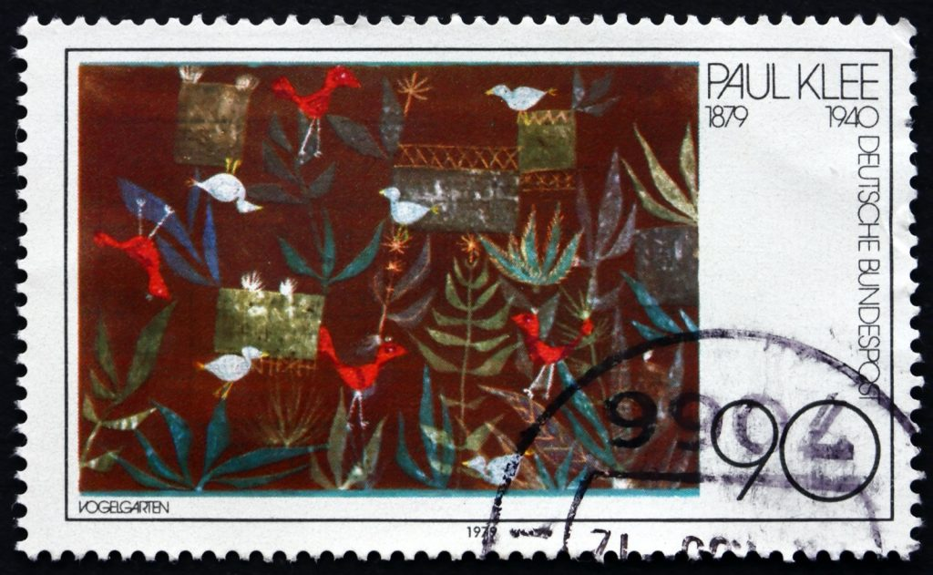 Stamp printed in Germany with the Bird Garden painting by Paul Klee