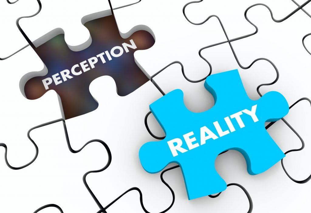 Perception and reality puzzle pieces