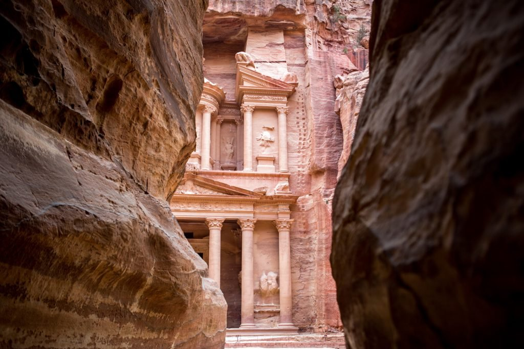 The Treasury monument in the old Nabataean city Petra