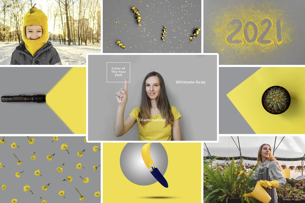 Photo collage of gray and yellow trendy colors in 2021