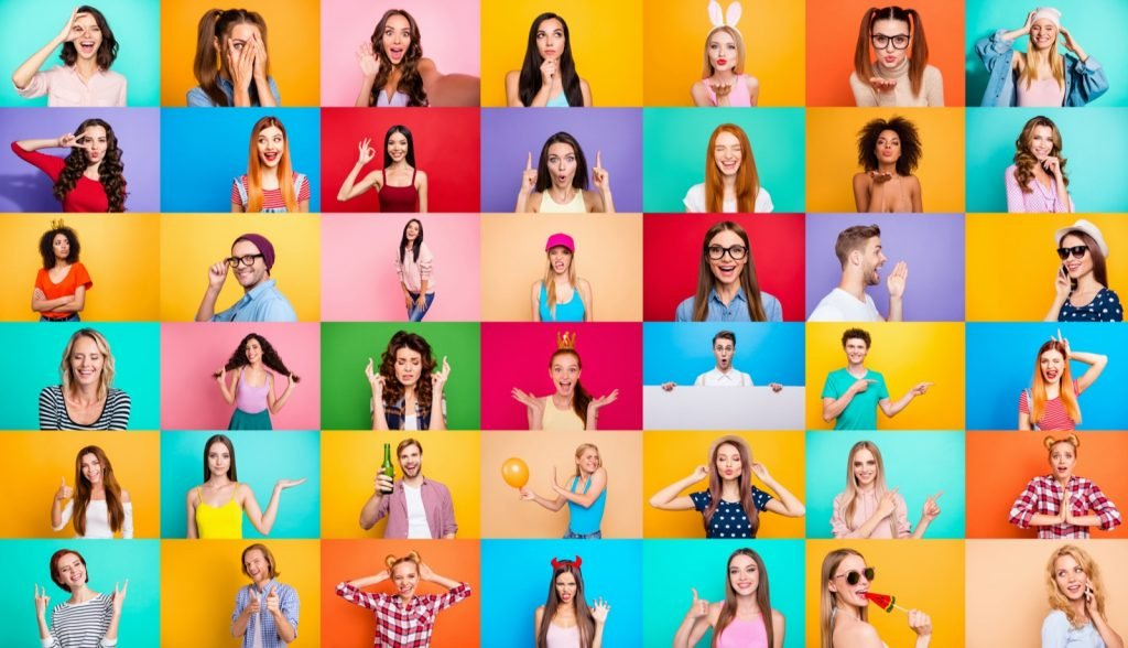 Photo collage with portraits of different people isolated over colored backgrounds