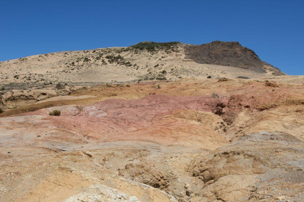 Pink clay hill at Cape Maria Van Diemen in New Zealand.
