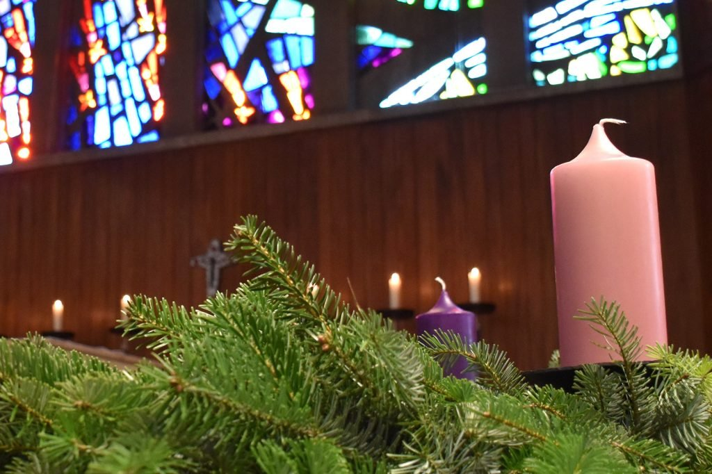 Pink colored Advent candle
