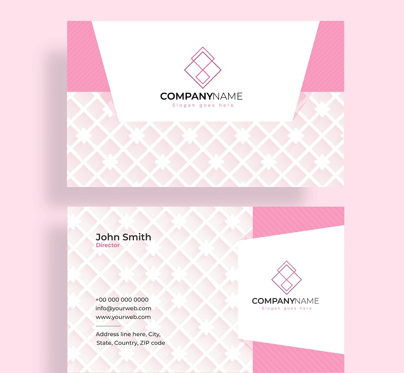business cards in pink and white