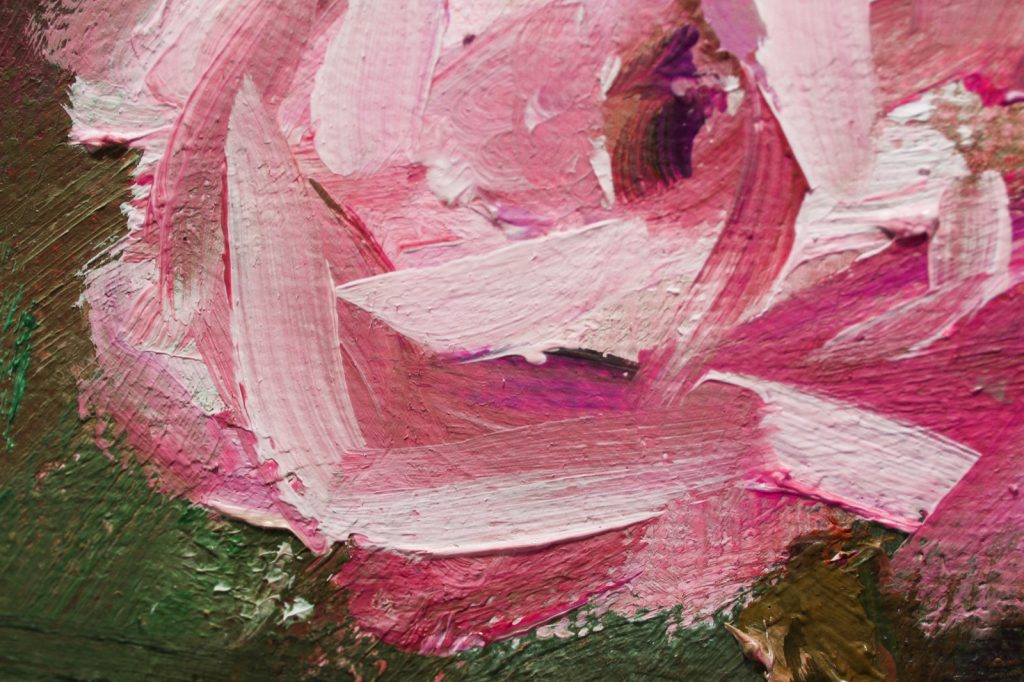Oil painting of a pink rose