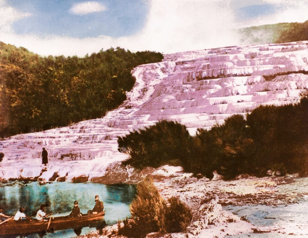 Pink Terraces of Lake Rotomahana in New Zealand
