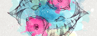 Pisces zodiac sign with colorful koi fish
