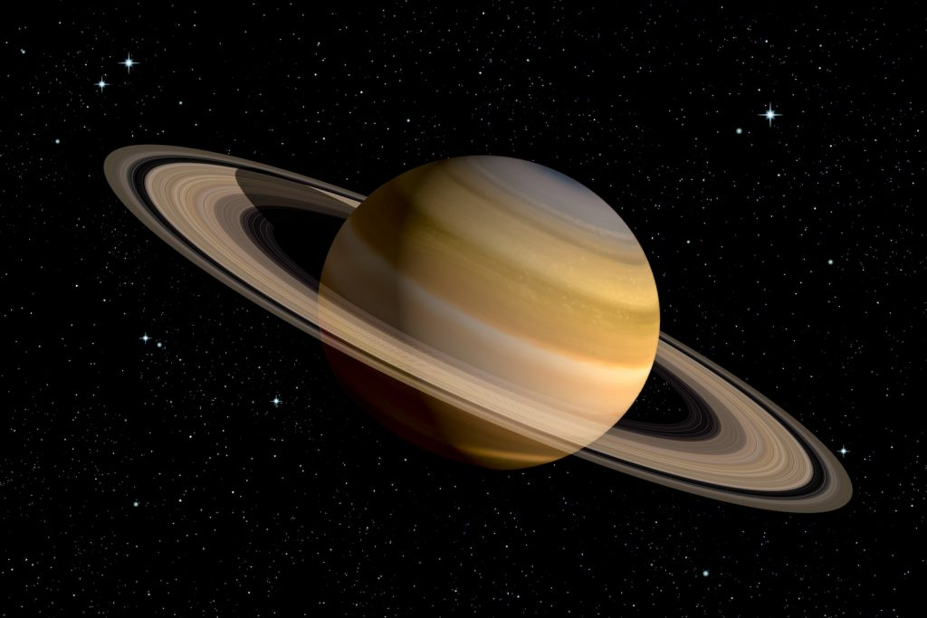 Realistic 3d illustration of planet Saturn with its rings
