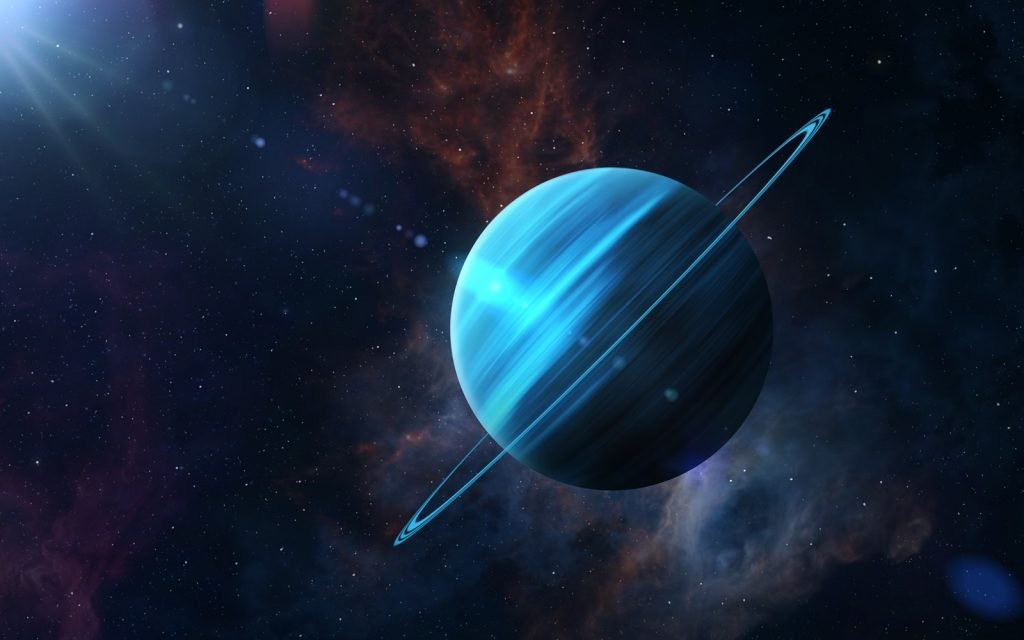 View of planet Uranus in the solar system in space