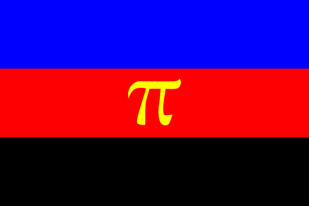 Polyamory pride flag in blue, red and black colors with a yellow pi symbol