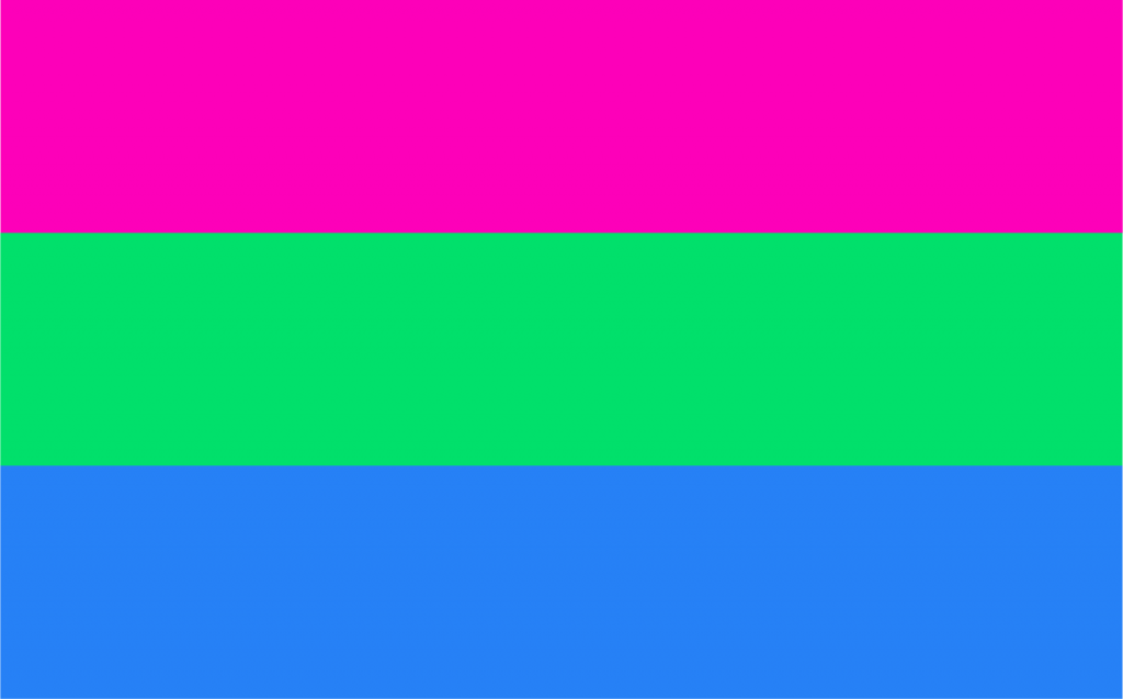 Polysexual pride flag with pink, green and blue colors