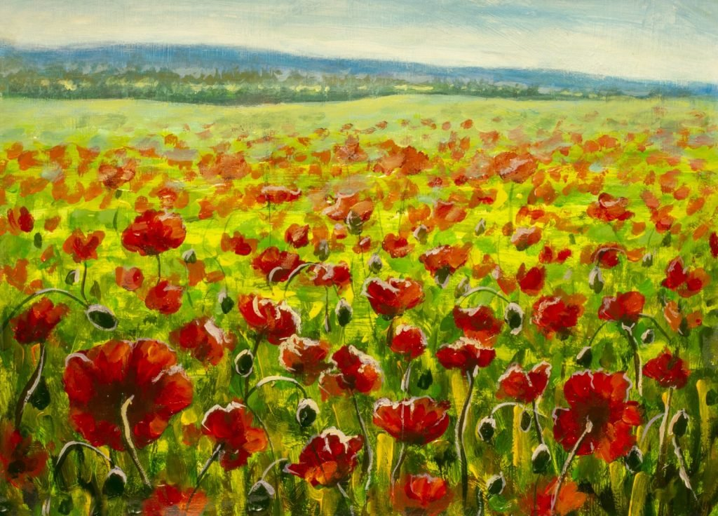 Poppy field and mountains oil painting with red and green colors