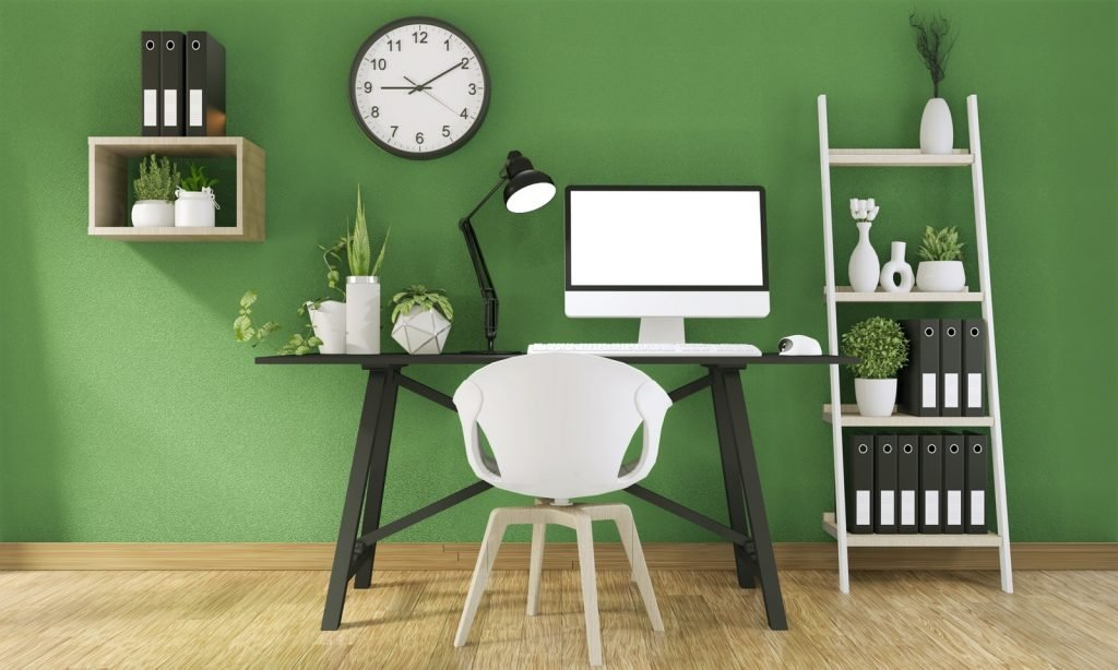 Productive home office with green walls