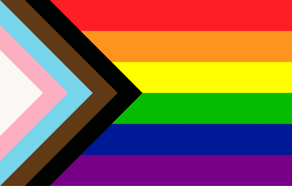 Progress pride flag with arrow shaped chevron on the left side