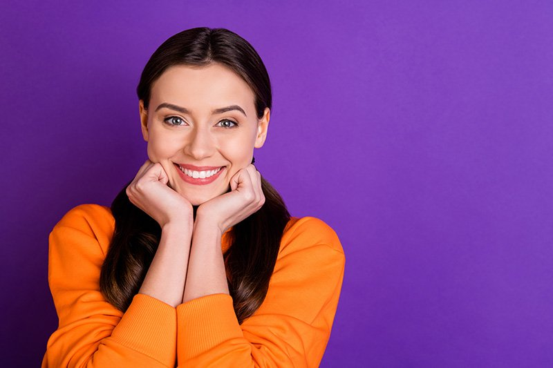 Woman on purple background