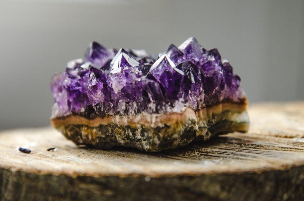 Closeup of a piece of purple quartz amethyst