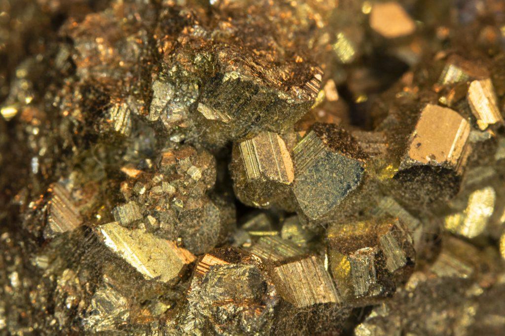 Closeup of golden pyrite quartz stone