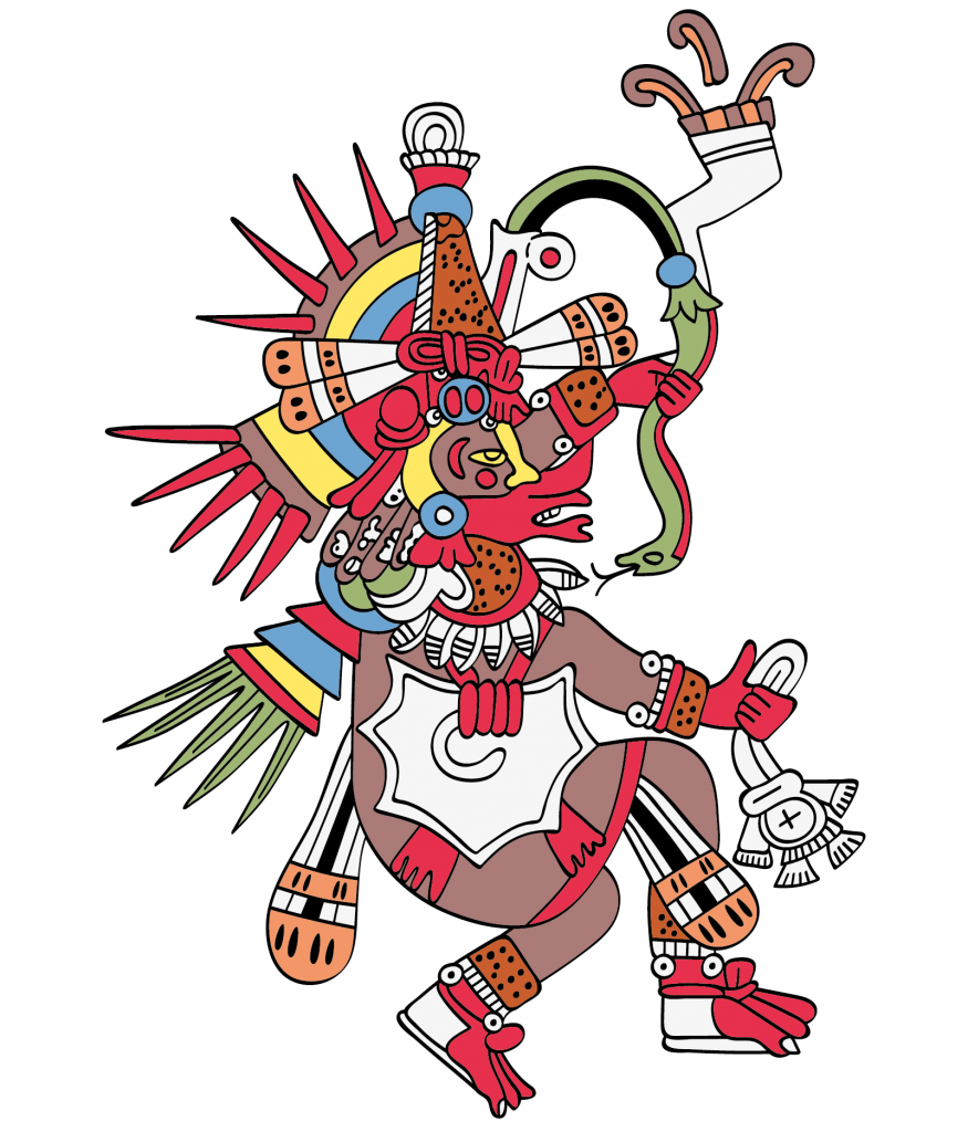 Quetzalcoatl, the feathered serpent. God of Wind and Wisdom. Twin brother of Tezcatlipoca.