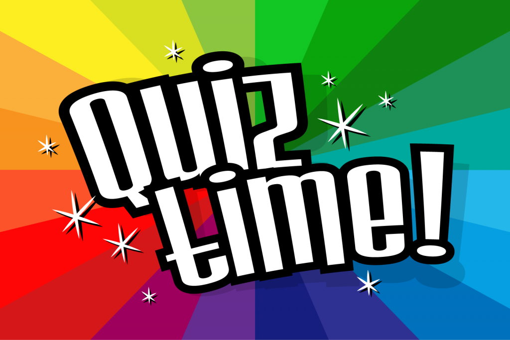Quiz time text on colorful background