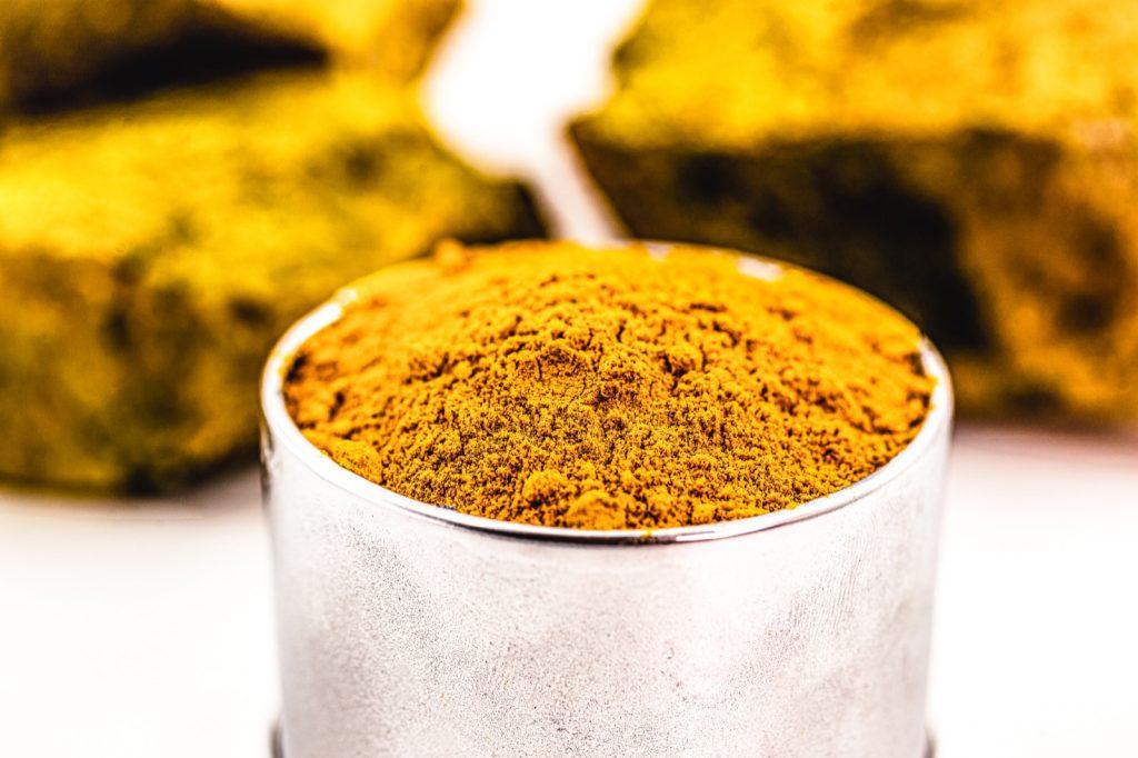 Radioactive yellow carnotite mineral that contains uranium