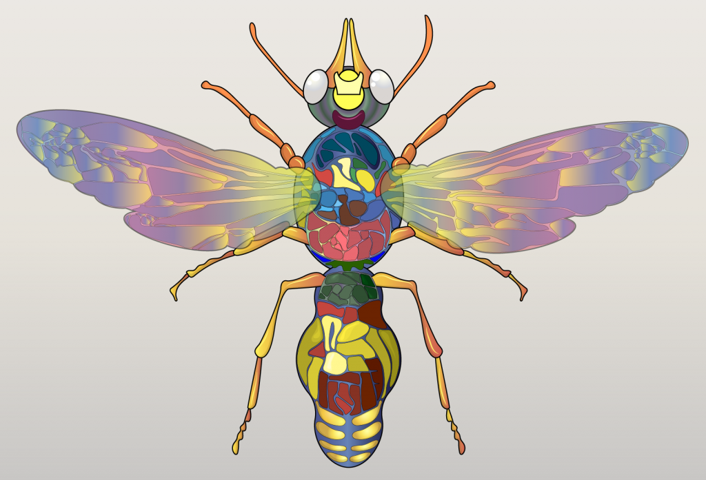 Illustration of rainbow colored fly