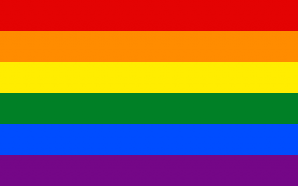 Rainbow pride flag with six colors