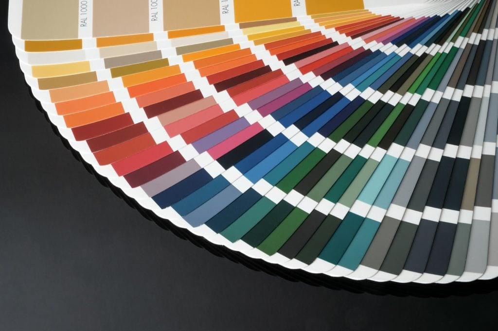 RAL color wheel on black background