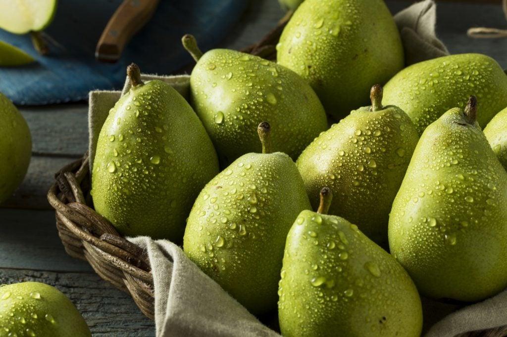 Raw green organic anjou pears