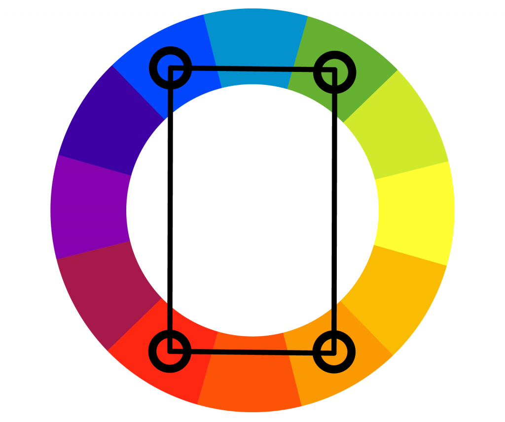 Rectangular tetradic color wheel
