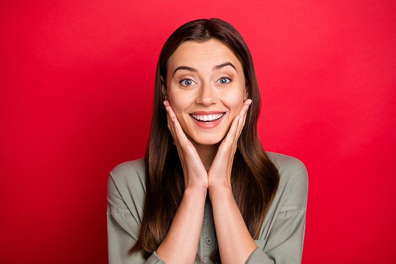 Woman on red background