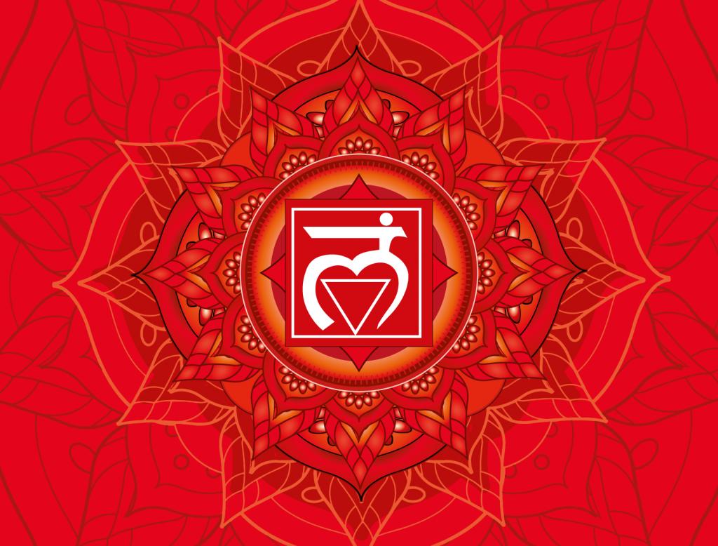Red color Muladhara chakra illustration