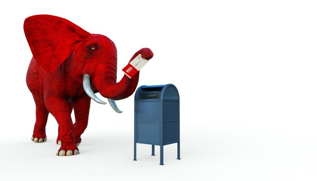 Republican red elephant mailing election ballot