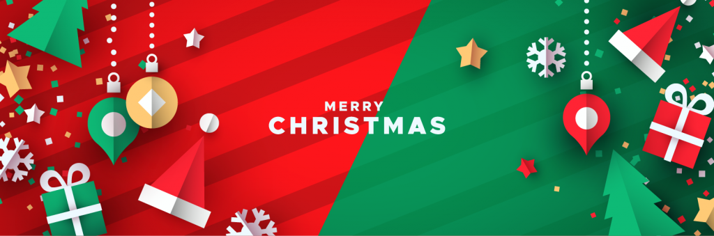 Christmas banner in red and green colors with holiday ornaments
