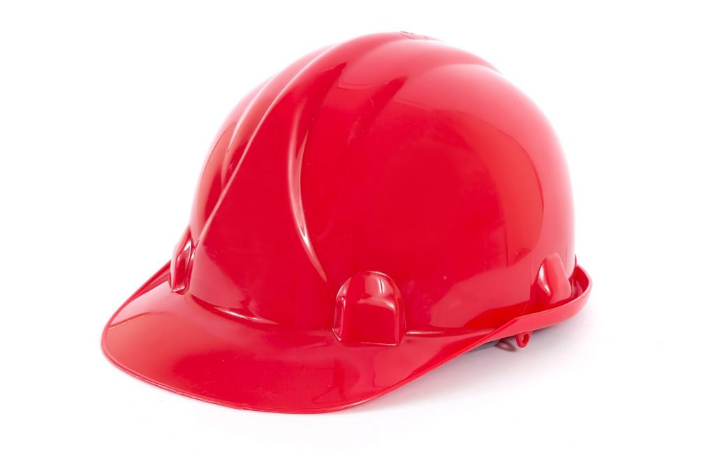 Red hard hat isolated on white background