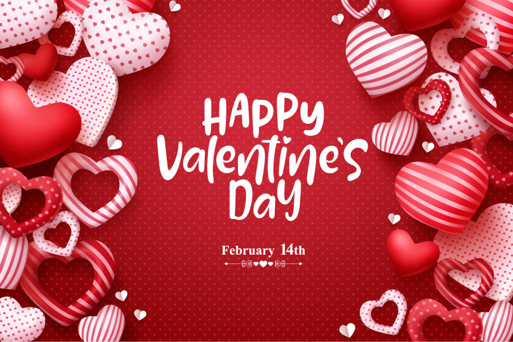 Red, white, and pink colored Valentines Day illustration
