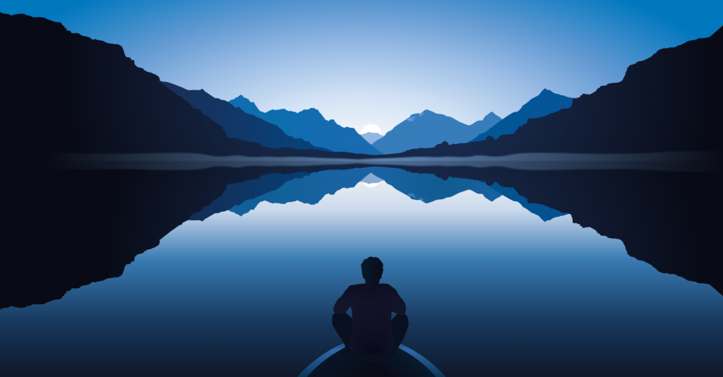 Illustration of relaxed man sitting near calm blue lake with mountains in the background