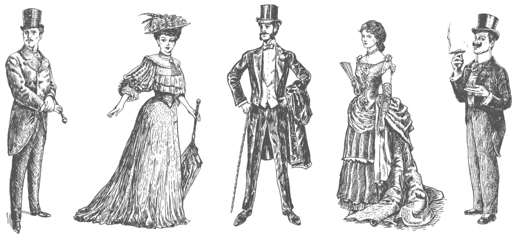 Retro illustration of men and woman in gray Victorian clothing