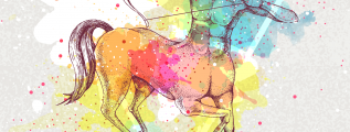 Sagittarius zodiac sign with colorful centaur holding bow and arrow