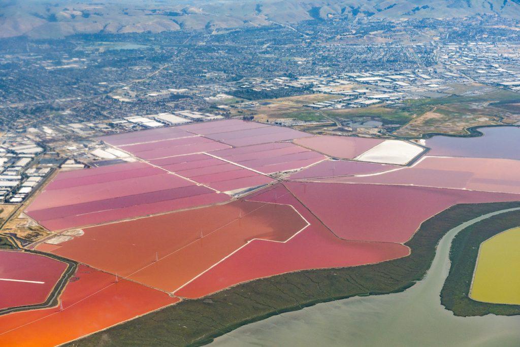 Aerial photo of salt ponds at Don Edwards San Francisco Bay National Wildlife Refuge