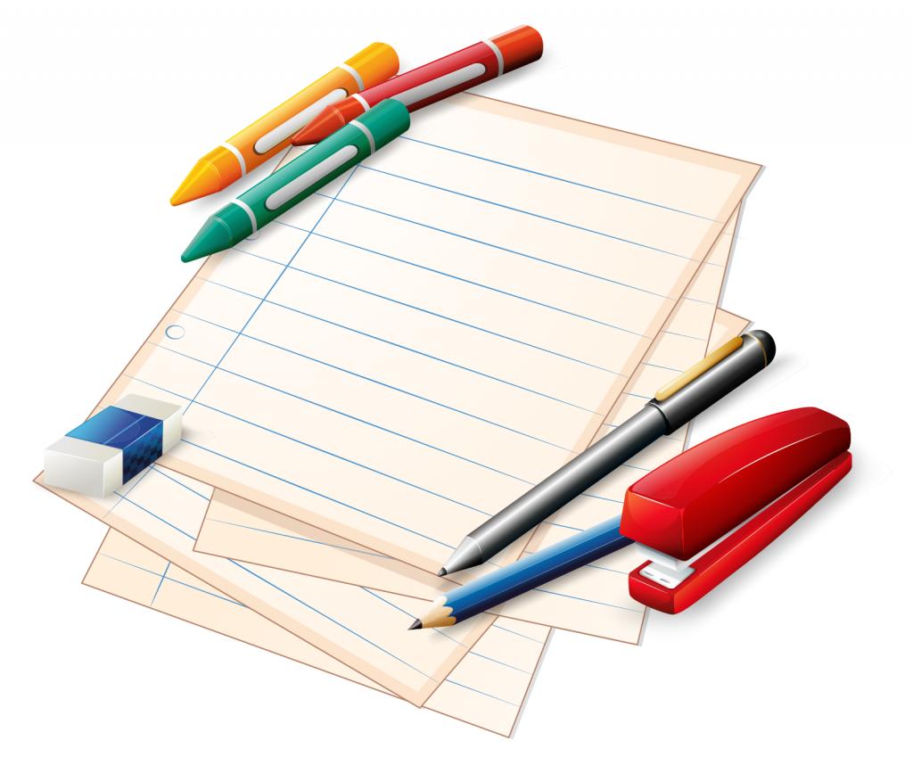 School materials with pencils, crayons, eraser and stapler