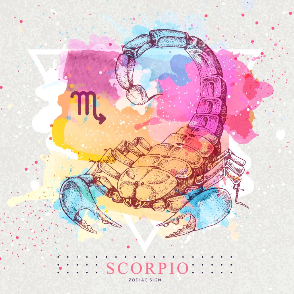 Scorpio zodiac sign with colorful scorpion