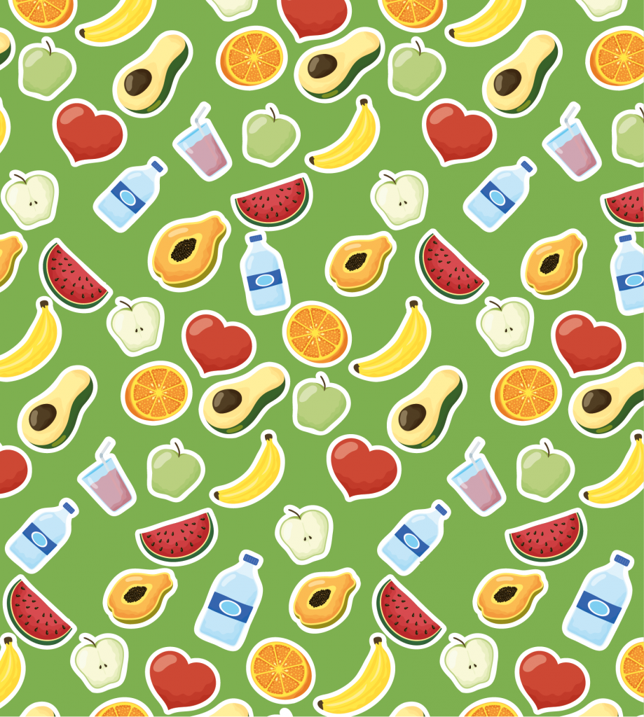 Set of different fruits on green background