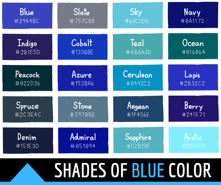 Shades of Blue Color with Names and HTML, Hex, RGB Codes