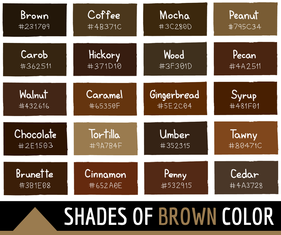 Shades of Brown Color with Names and HTML, Hex, RGB Codes