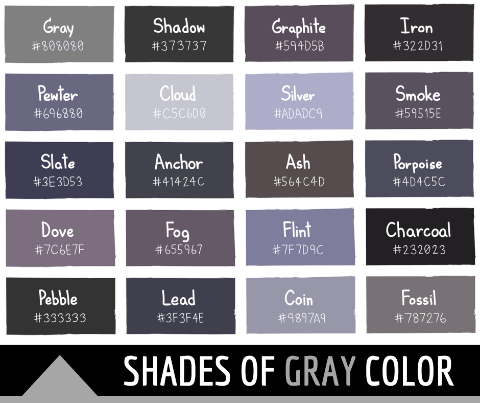 Shades of Gray Color with Names and HTML, Hex, RGB Codes