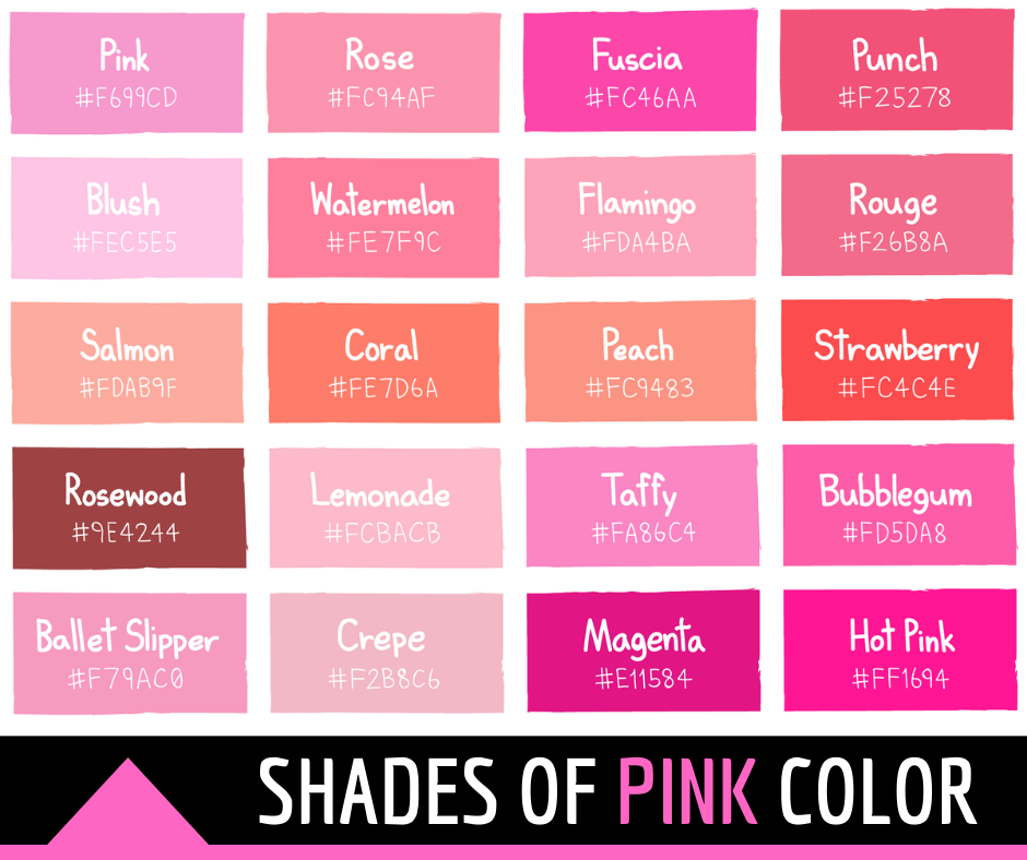 Shades of Pink Color with Names and HTML, Hex, RGB Codes