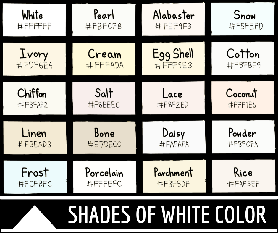 Shades of White Color with Names and Hex Codes