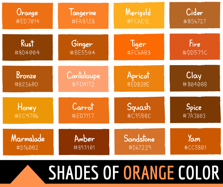 Shades of Orange Color with Names and HTML, Hex, RGB Codes
