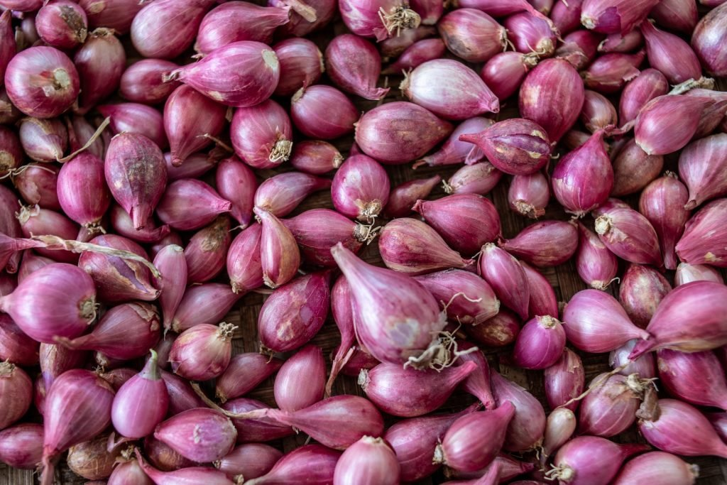 Pile of Shallot onions at a market